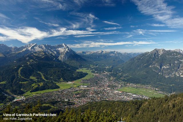 View of Garmisch-Partenkirchen von Hotel Zugspitze